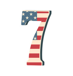 capital 3d number seven with american flag texture vector image