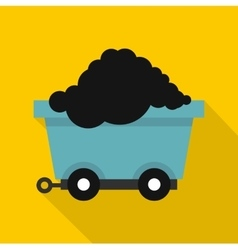 Cart on wheels with coal icon flat style vector