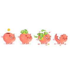 cartoon piggy bank savings bank deposit and save vector image