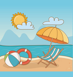 chair in beach scene vector image