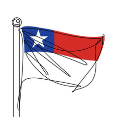 chile national flag abstract one line icon vector image