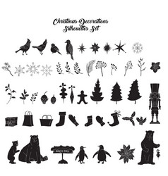 Christmas decoration silhouettes set vector
