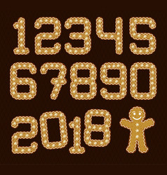 Christmas gingerbread numbers gingerman vector