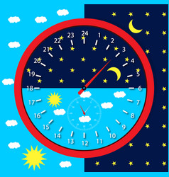 clock face day and night vector image