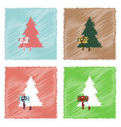 Collection of flat shading style icons fir-tree vector