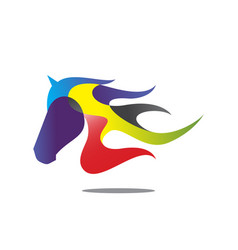 colorful horse head vector image