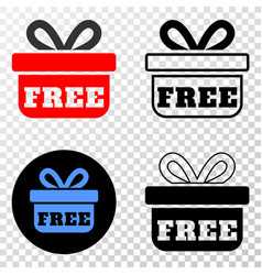 composition of gradiented dotted free gift and vector image