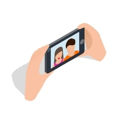 Couple taking selfy of themselves icon vector image