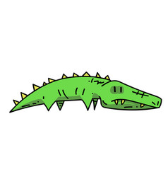 Crocodile cartoon hand drawn image vector
