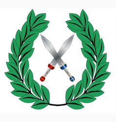 Crown of olive leaves with swords vector