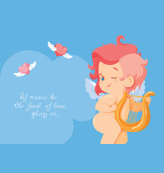 cupid playing love song music on hurp vector image