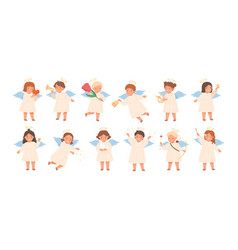 cute baangels flat set vector image