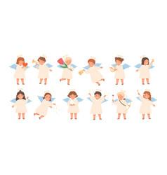 Cute baby angels flat set vector