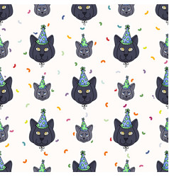 Cute cartoon british shorthair cat and kitten face vector