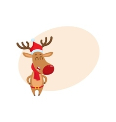 Cute funny Christmas reindeer in red hat scarf vector