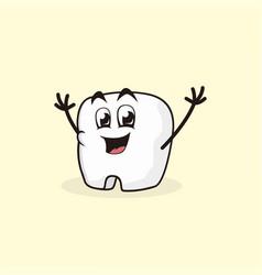 Cute happy teeth character vector