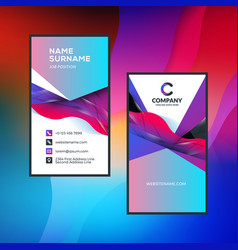 Double-sided vertical business card template with vector