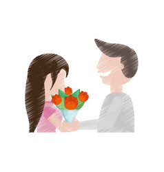 Drawing romantic couple beauty flowers vector