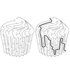 Easy cup cake maze vector