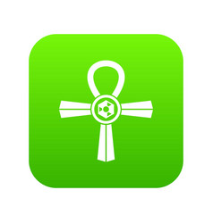 Egypt ankh symbol icon digital green vector
