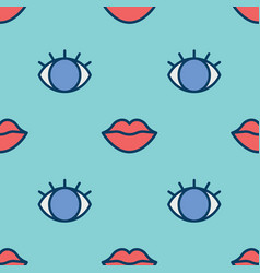 Eyes and red lips seamless pattern vector