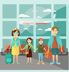 Family travel concept poster parents with vector