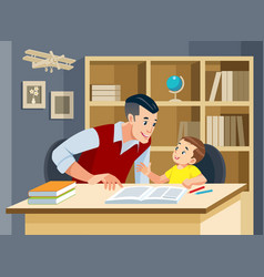 father helping son doing homework and smiling vector image