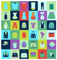 Flat icons set of fashion clothing and bags vector image