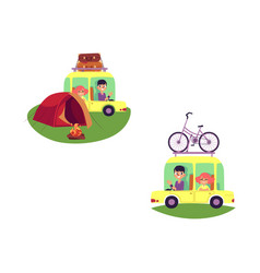 Flat people travelling in car isolated set vector