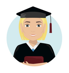 flat with a girl graduate in a cap and gown vector image