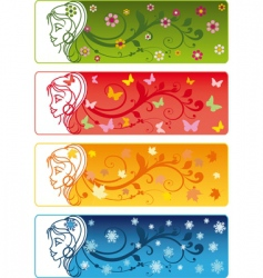 four seasons banners with girl vector image