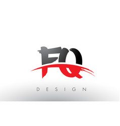 Fq f q brush logo letters with red and black vector