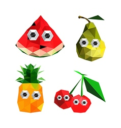 Funny origami fruits with cartoon eyes vector