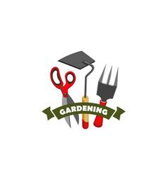 Gardening farming work tools shop icon vector