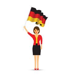 german flag waving woman vector image