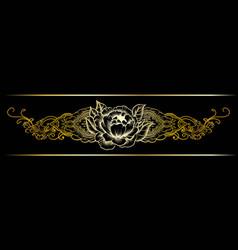 gold indian line art border vector image