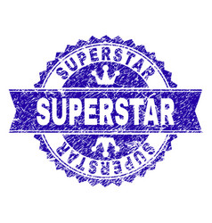 Grunge textured superstar stamp seal with ribbon vector