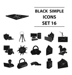 hackers and hacking set icons in black style big vector image