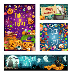 halloween trick or treat party cartoon celebration vector image