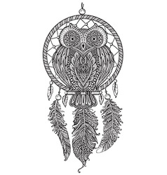 Hand drawn Detailed ornate Owl with dream catcher vector