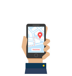 hand holding smartphone with app delivery vector image