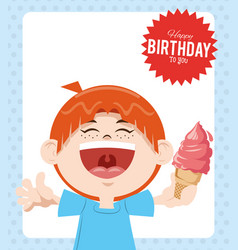 happy birthday celebration party smiling boy with vector image