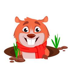 Happy groundhog day funny marmot vector