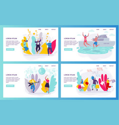 happy jumping people in flat style for website vector image