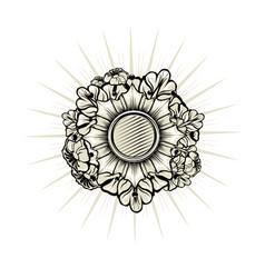 Heraldic emblem with floral elements vector