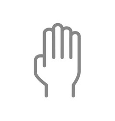 Human hand line icon open palm gesture symbol vector