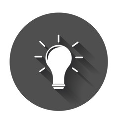idea icon flat light bulb icon with long shadow vector image