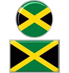 Jamaican round and square icon flag vector