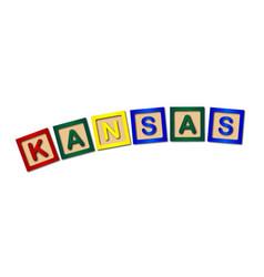 Kansas wooden block letters vector