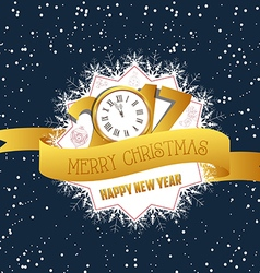 Merry christmas and Happy New Year 2017 with clock vector image